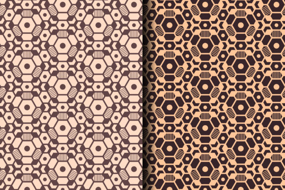 Download Free Geometric Hexagon Pattern Brown Graphic By Noory Shopper for Cricut Explore, Silhouette and other cutting machines.