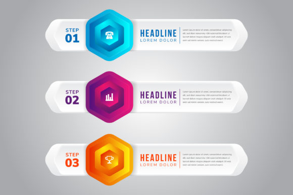 Print on Demand: Infographics 3D Hexagon Graphic Infographics By noory.shopper