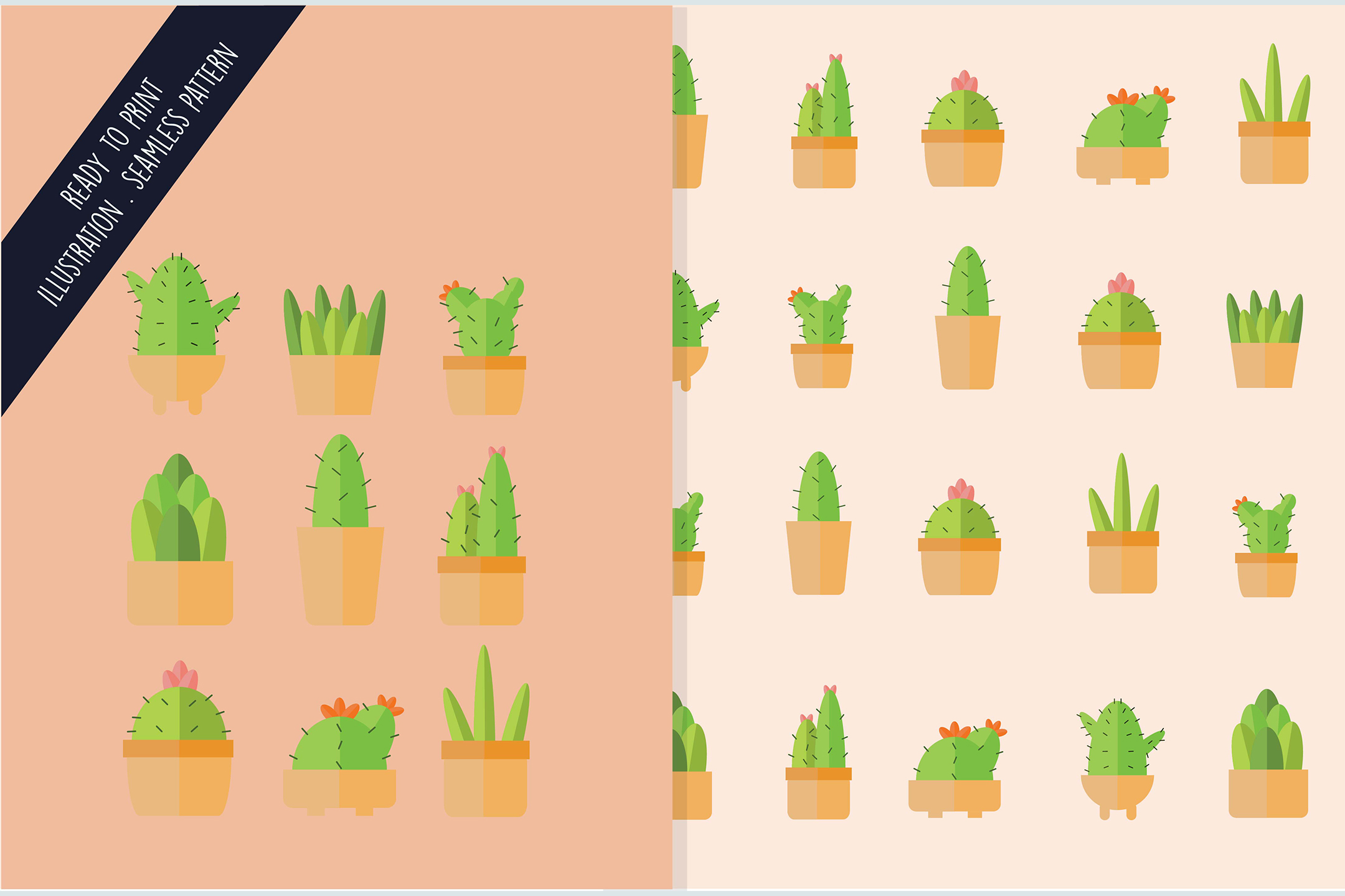 Download Free Seamless Design Pattern Isolated Cactus Graphic By Aprlmp276 for Cricut Explore, Silhouette and other cutting machines.
