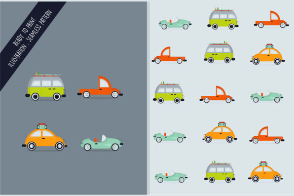 Download Free Seamless Design Pattern Isolated Cars Graphic By Aprlmp276 for Cricut Explore, Silhouette and other cutting machines.