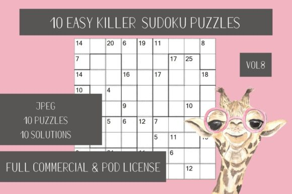 Print on Demand: 10 Easy Killer Sudoku + Solutions Vol.8 Graphic Teaching Materials By Fleur de Tango