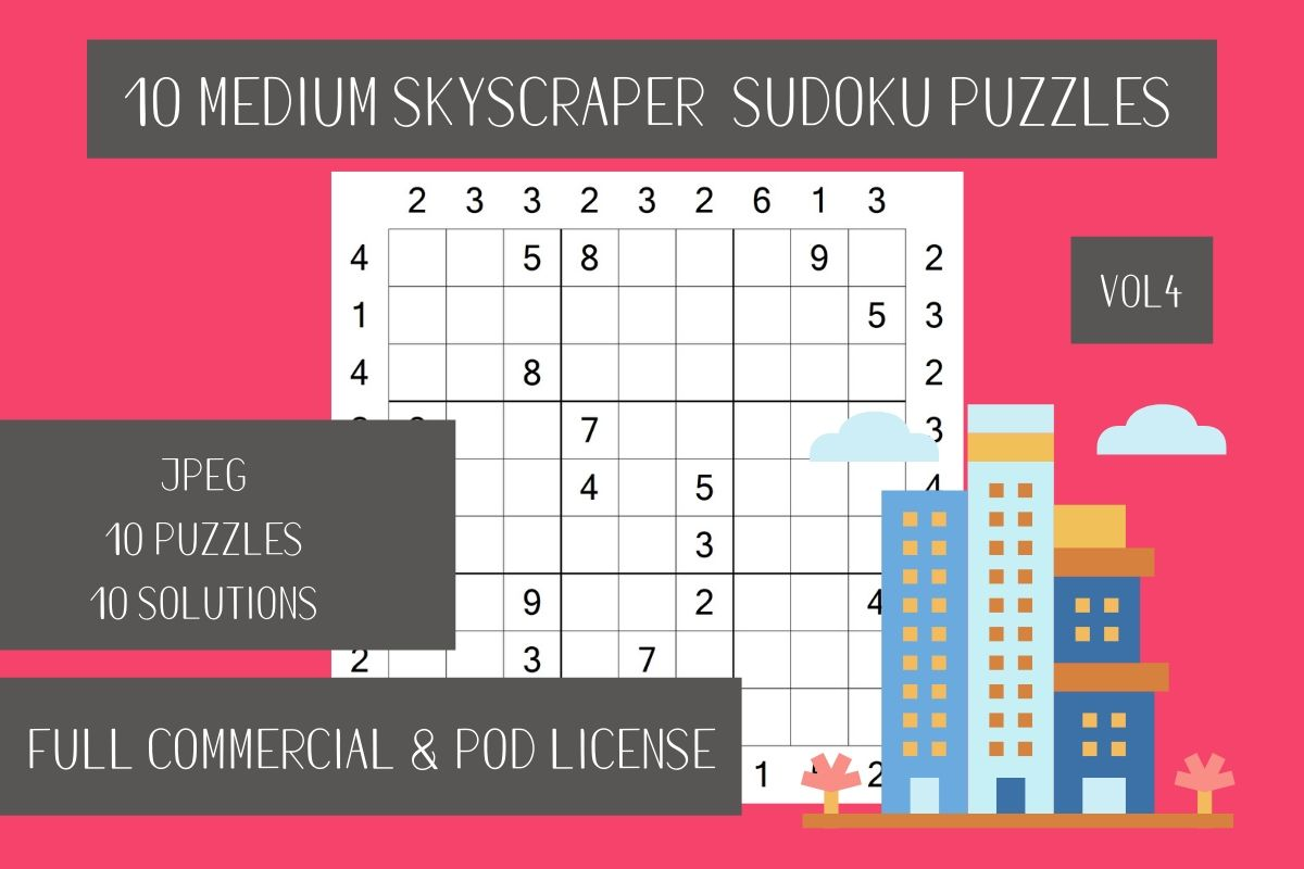 Download Free 10 Medium Skyscraper Sudoku Vol 4 Graphic By Fleur De Tango for Cricut Explore, Silhouette and other cutting machines.