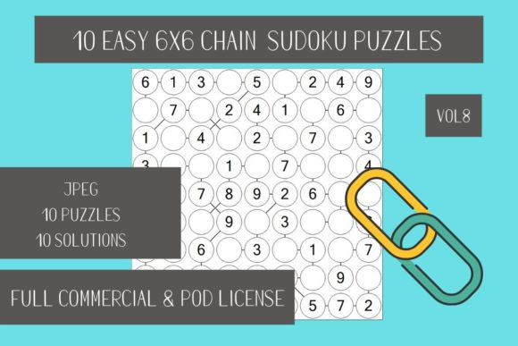 Download Free 10 Easy Chain Sudoku Vol 8 Graphic By Fleur De Tango Creative for Cricut Explore, Silhouette and other cutting machines.