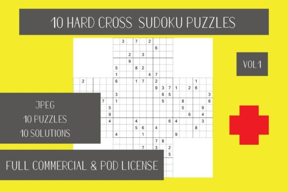 Download Free 10 Hard Cross Sudoku Vol 1 Graphic By Fleur De Tango Creative for Cricut Explore, Silhouette and other cutting machines.