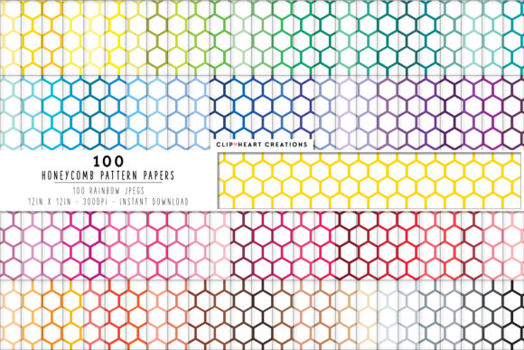 100 Honeycomb Pattern Papers Gráfico Fondos Por clipheartcreations