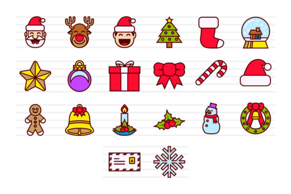 Download Free 20 Christmas Color Icons Graphic By Borisfarias Creative Fabrica for Cricut Explore, Silhouette and other cutting machines.