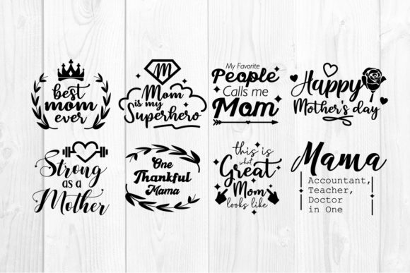 Download Free 20 Mom Bundle Quote Graphic By Vectorbundles Creative Fabrica for Cricut Explore, Silhouette and other cutting machines.