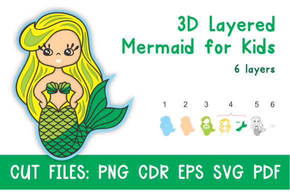 Print on Demand: 3D Layered Mermaid for Kids. Cut Files Gráfico SVG en 3D Por Olga Belova