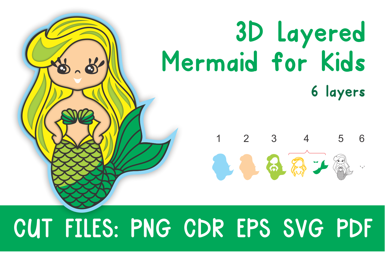 Download Free 3d Layered Mermaid For Kids Cut Files Graphic By Olga Belova for Cricut Explore, Silhouette and other cutting machines.