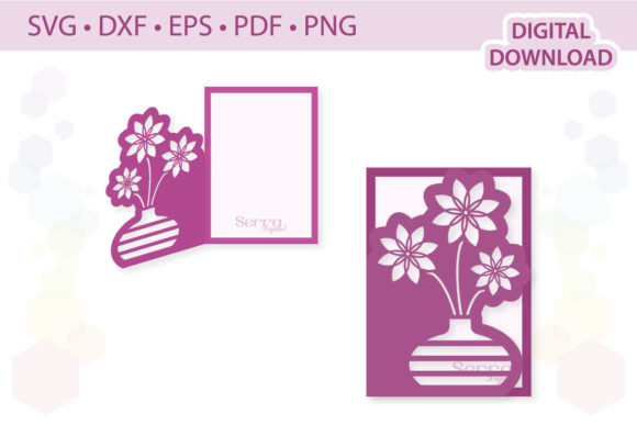 Download Free Bunch Of Flowers Card Template Graphic By Serradigital for Cricut Explore, Silhouette and other cutting machines.