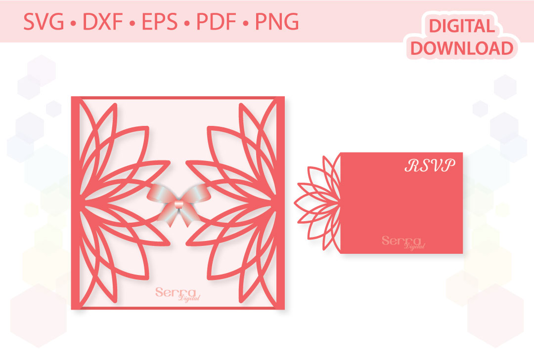 Download Free Floral Invitation Card Cut File Graphic By Serradigital for Cricut Explore, Silhouette and other cutting machines.