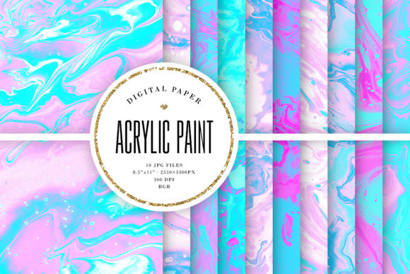 Print on Demand: Acrylic Paint Textures - Pink & Blue Graphic Backgrounds By Sabina Leja