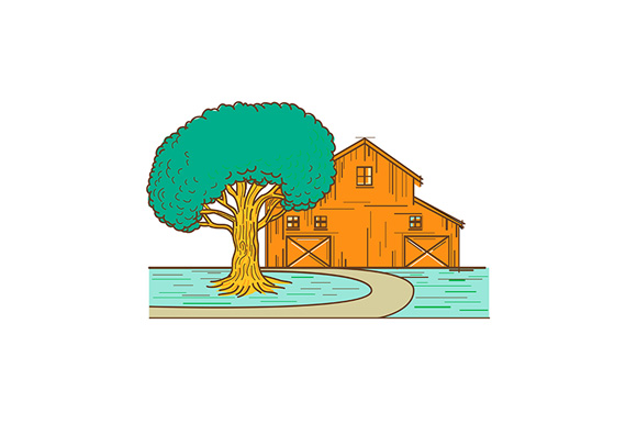 Download Free American Barn Oak Tree Mono Line Color Graphic By Patrimonio for Cricut Explore, Silhouette and other cutting machines.