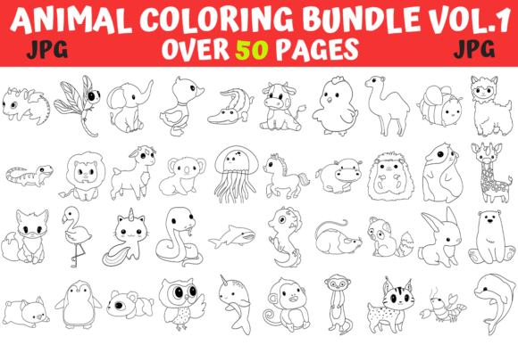 Print on Demand: Animals Coloring Pages Bundle  By MyBeautifulFiles
