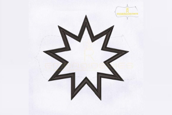 Bahai 9 Pointed Star Religion & Faith Embroidery Design By RoyalEmbroideries