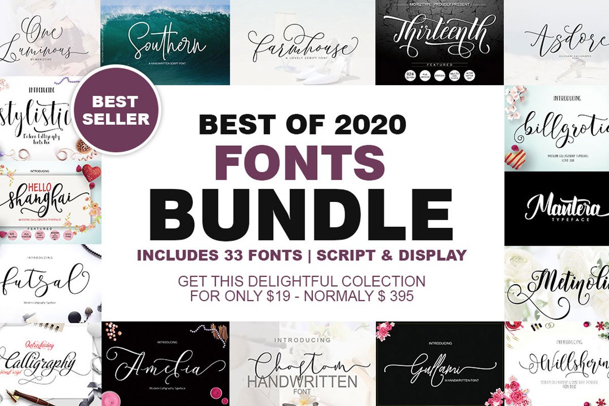 Download Free Best Of 2020 Fonts Bundle Bundle Creative Fabrica for Cricut Explore, Silhouette and other cutting machines.