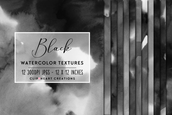 Black Watercolor Digital Papers Graphic Backgrounds By clipheartcreations