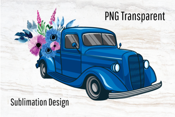 Print on Demand: Blue Vintage Truck Sublimation Design Graphic Print Templates By Blueberry Jam Design