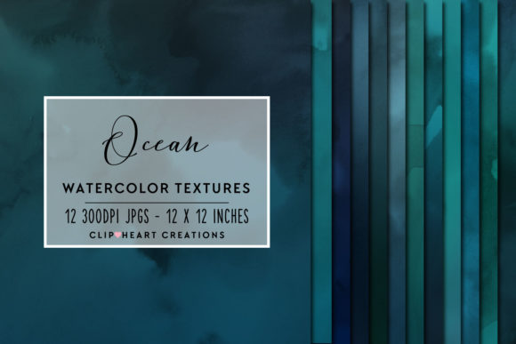 Blue Watercolor Digital Papers Graphic Backgrounds By clipheartcreations