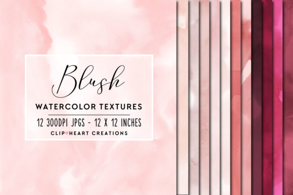 Blush Watercolor Digital Papers Graphic Backgrounds By clipheartcreations