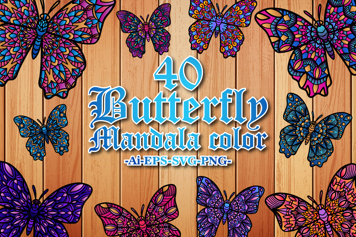 Download Free Butterfly Mandala Color Graphic By Bayu Baluwarta Creative Fabrica for Cricut Explore, Silhouette and other cutting machines.