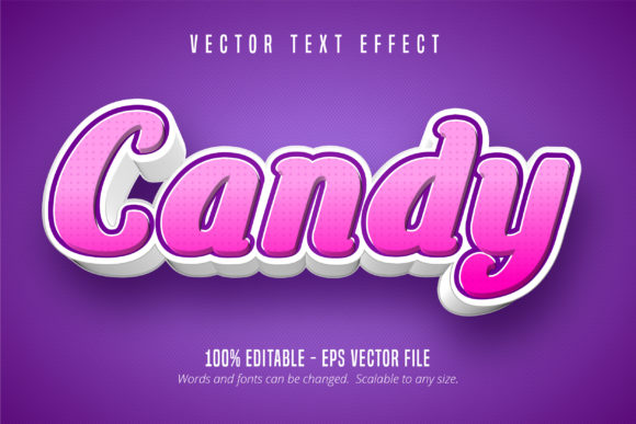 Print on Demand: Candy Text, 3D Editable Text Effect Graphic Graphic Templates By Mustafa Bekşen