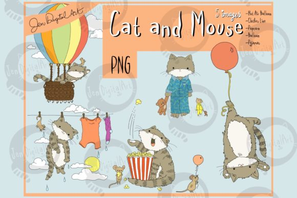 Cat and Mouse Graphic Illustrations By Jen Digital Art
