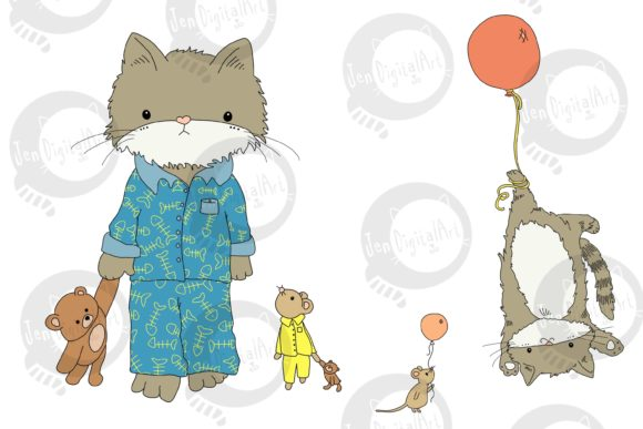 Cat and Mouse Graphic Illustrations By Jen Digital Art - Image 2