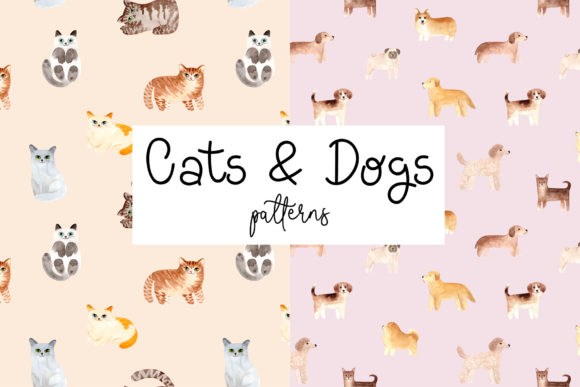 Download Free Cats And Dogs Patterns Graphic By Slastick Creative Fabrica for Cricut Explore, Silhouette and other cutting machines.
