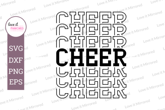 Download Free Cheer Mirror Word Cut File Graphic By Love It Mirrored for Cricut Explore, Silhouette and other cutting machines.