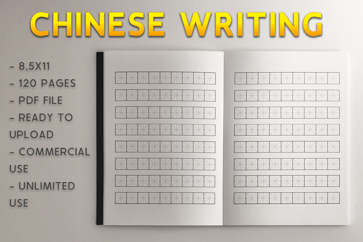 Download Free Chinese Writing Book Kdp Template Graphic By Kdp Product for Cricut Explore, Silhouette and other cutting machines.
