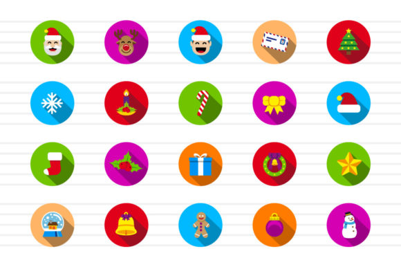 Download Free Christmas Circle Color Icons Graphic By Borisfarias Creative for Cricut Explore, Silhouette and other cutting machines.