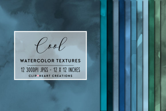 Cool Tones Watercolor Digital Papers Graphic Backgrounds By clipheartcreations