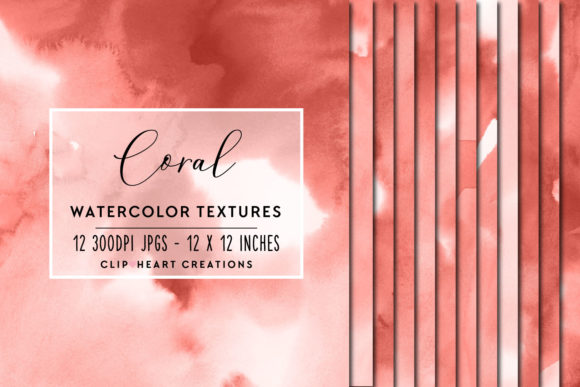 Coral Watercolor Digital Papers Graphic Backgrounds By clipheartcreations - Image 1