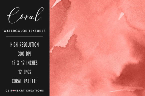 Coral Watercolor Digital Papers Graphic Backgrounds By clipheartcreations - Image 2