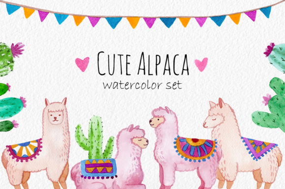 Download Free Cute Alpaca Watercolor Cliparts Pattern Graphic By Slastick for Cricut Explore, Silhouette and other cutting machines.