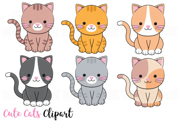 Cute Cats Clipart Graphic Illustrations By magreenhouse