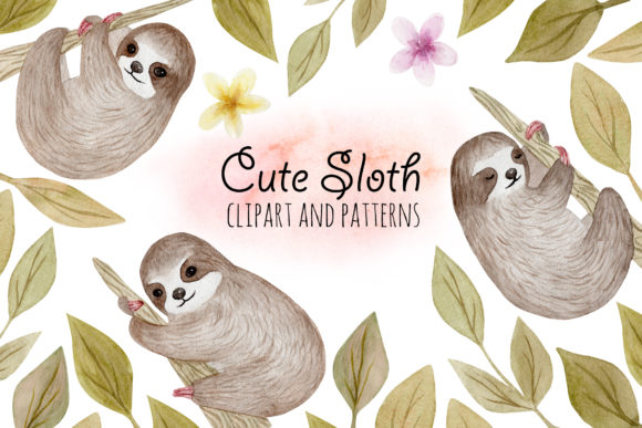 Cute Sloth. Watercolor Patterns Graphic Objects By Slastick