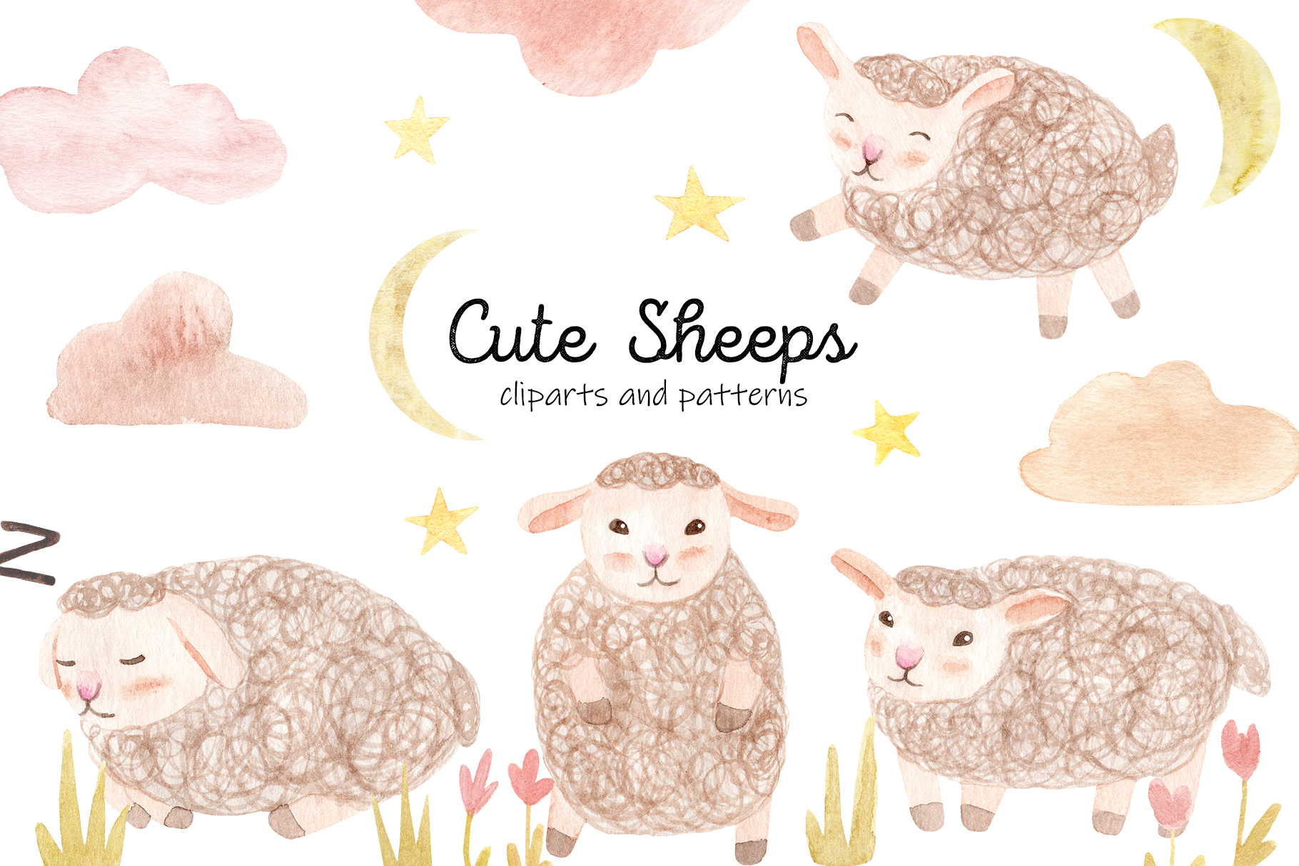 Download Free Cute Watercolor Sheeps Seamless Pattern Graphic By Slastick for Cricut Explore, Silhouette and other cutting machines.