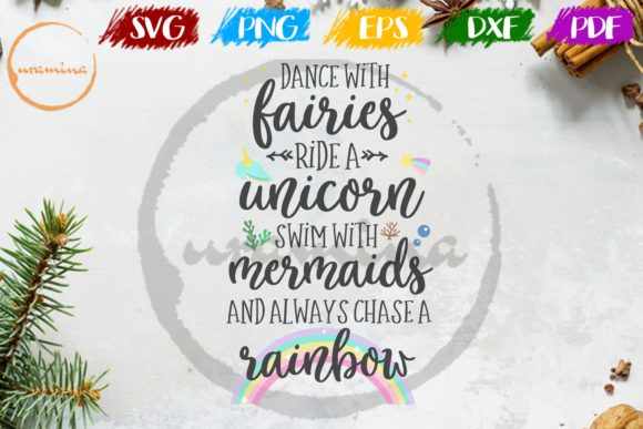 Download Free Dance With Fairies Ride A Unicorn Graphic By Uramina Creative for Cricut Explore, Silhouette and other cutting machines.