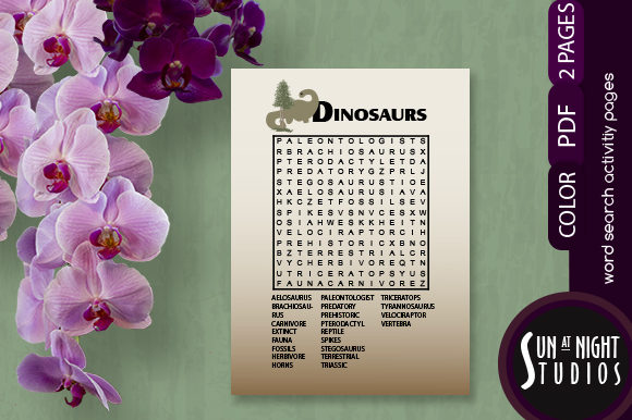 Dinosaurs Word Search Activity Graphic Teaching Materials By Sun At Night Studios