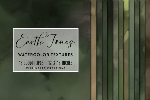 Earth Tones Watercolor Digital Papers Graphic Backgrounds By clipheartcreations
