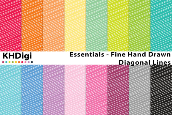 Print on Demand: Essentials - Hand Drawn Diagonal Lines Graphic Backgrounds By KHDigi