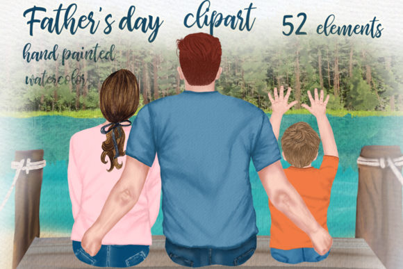 Father and Children,Father's Day Clipart Graphic Illustrations By LeCoqDesign