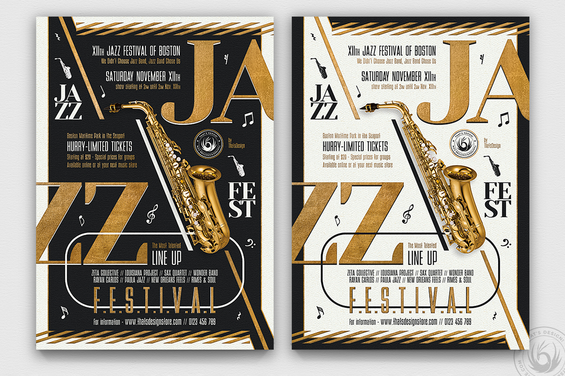 Download Free Golden Jazz Flyer Template V3 Graphic By Thatsdesignstore for Cricut Explore, Silhouette and other cutting machines.