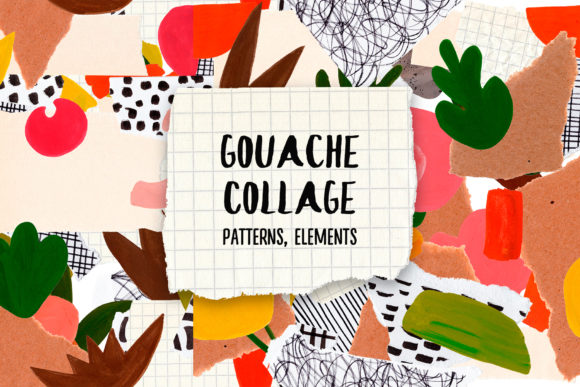Gouache Paper Collage Cliparts Patterns Graphic Objects By Slastick