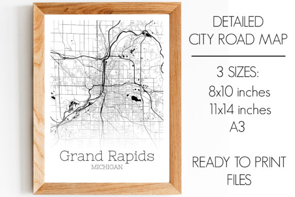 Print on Demand: Grand Rapids Michigan City Map Graphic Photos By SVGExpress