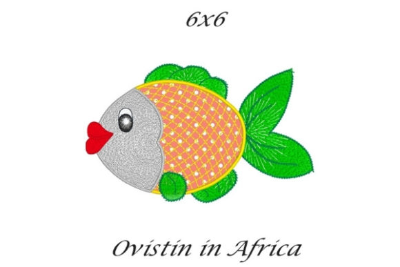Green Sassy Applique Fish Fish & Shells Embroidery Design By Ovistin in Africa