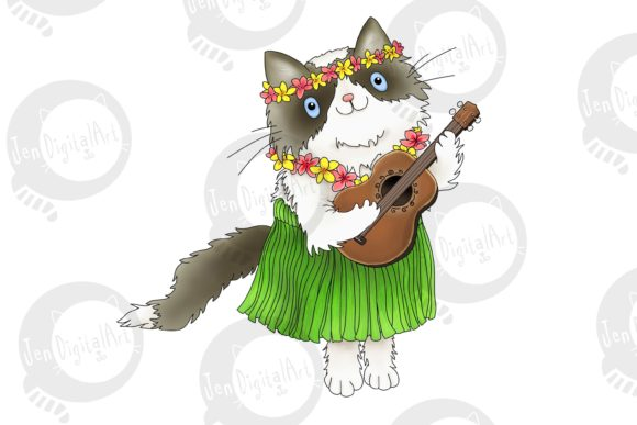 Hawaiian Rag-doll Cat with Ukulele Graphic Illustrations By Jen Digital Art