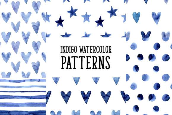 Indigo Blue Watercolor Patterns Graphic Patterns By Slastick